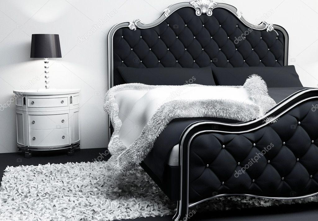lussuoso arredamento interno camera da letto. letto moderno con ...