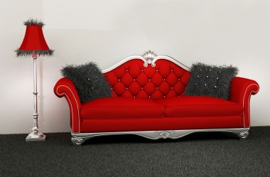 Modern armchair with furry cushions and standard lamp in interio