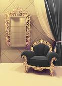 Königliche Möbel in luxuriösem Interieur, schwarze Polsterung und g