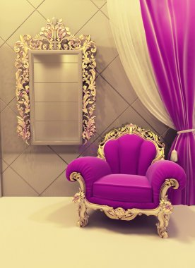 Royal furniture in a luxurious interior, pink pattern