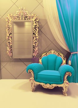 Royal furniture in a luxurious interior, velvet upholstery