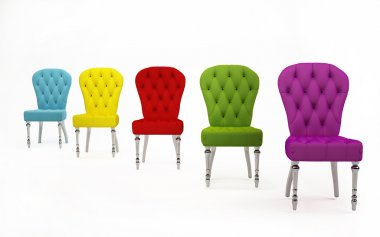Perspective of colored fabric chairs. Modern Furniture