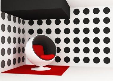 Pop art interior. Round armchair. Geometrical interior