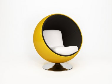 Modern round armchair. semicircular armchair isolated on white
