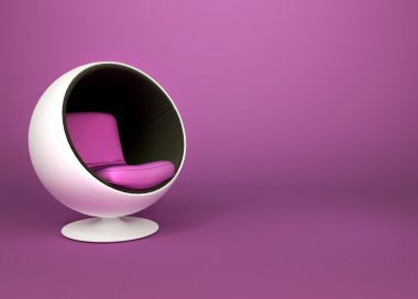Round minimalism armchair on violet background. Pop art. Art-dec