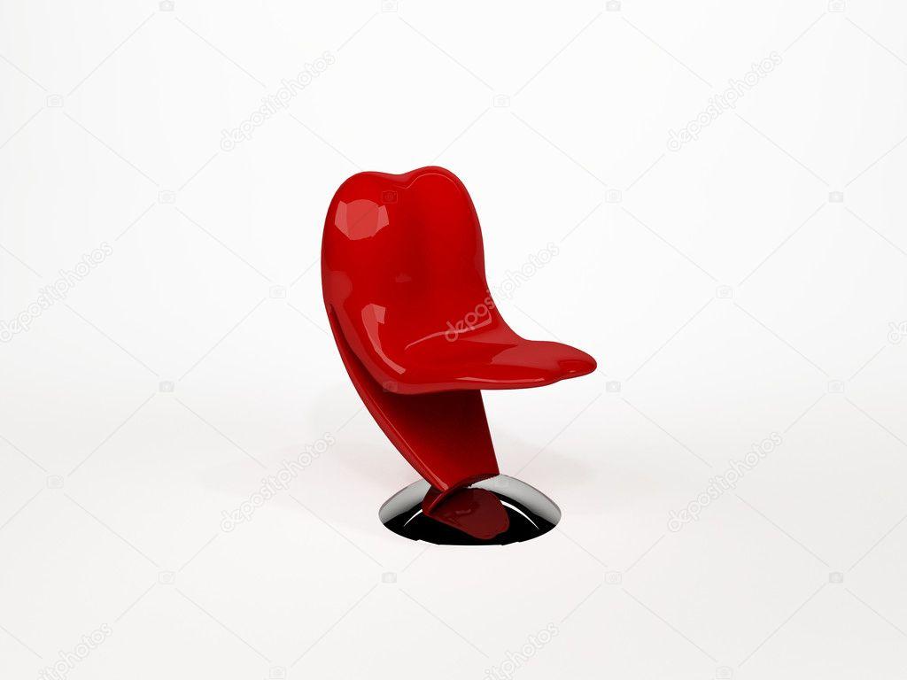 Pop Art Plastique Chaise Ou Sculpture De Langue Isol Sur Blanc B Photo