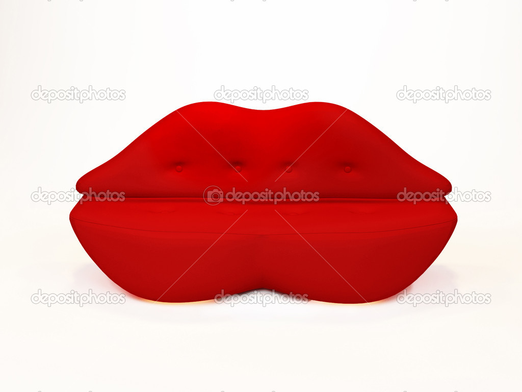 Red Lips Sofa On White Background Stock Photo