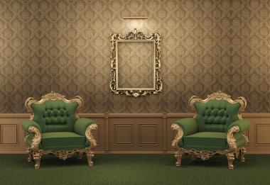 Armchairs and Empty golden frame on a wall. Royal apartment. Lux