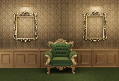 Armchair with luxurious frame in baroque interior