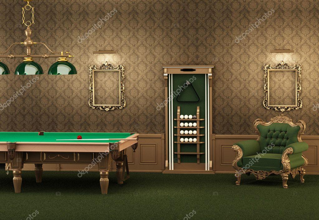 Möbel Leer billard billardtisch und möbel in luxuriösen interieur leer