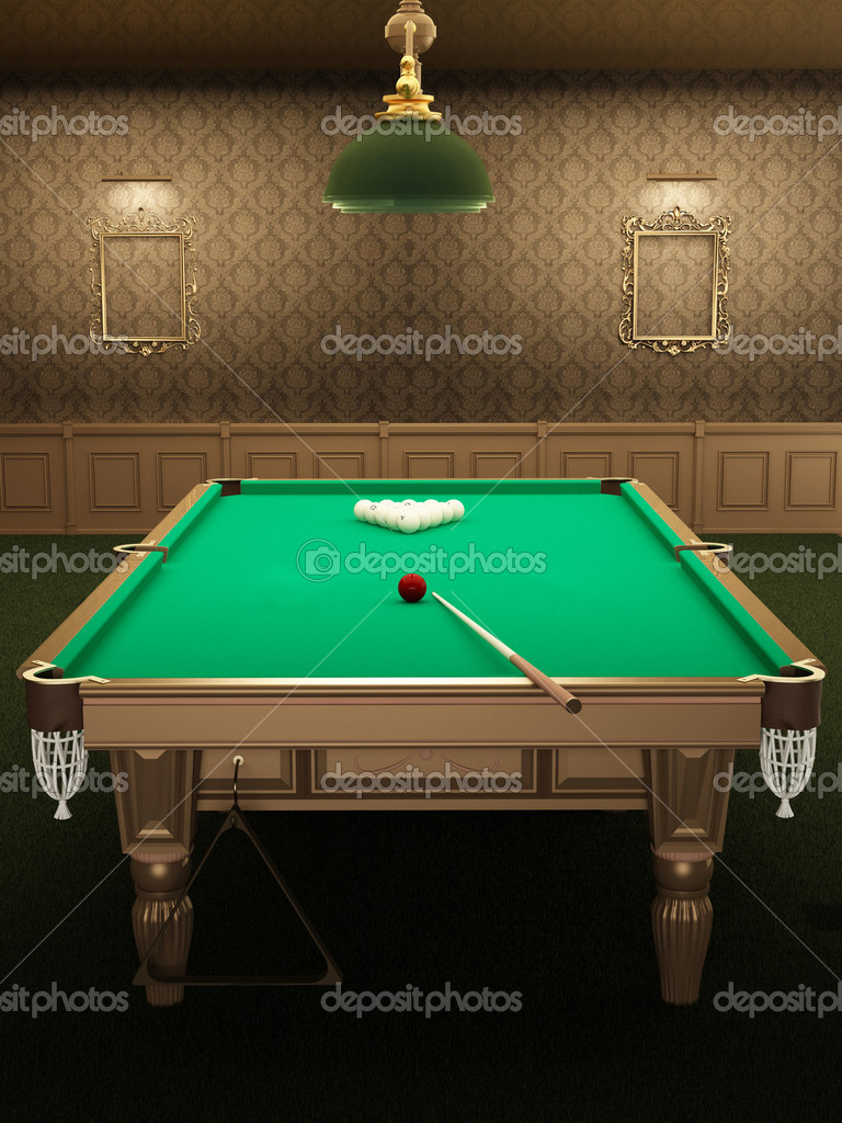 Billiard or pool table in luxurious interior with pattern wallpa