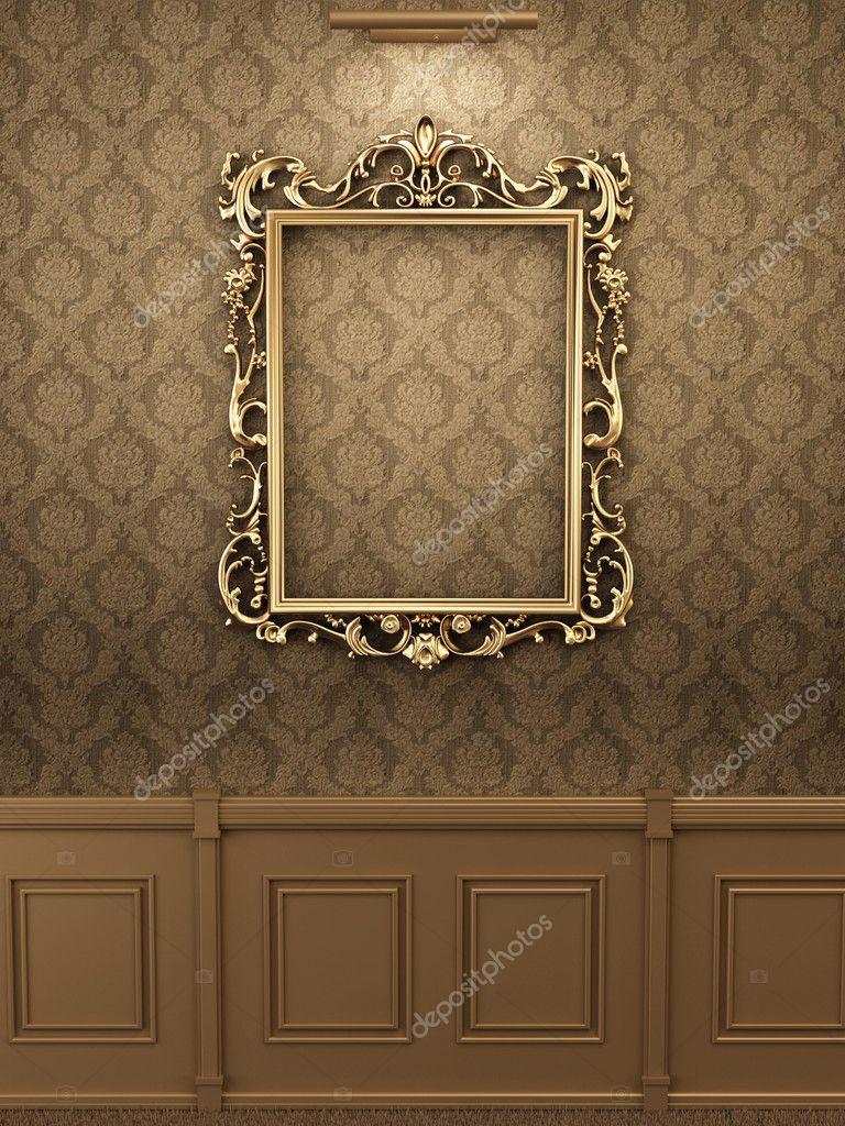 marco de oro real en la pared interior. Galería — Foto de stock ...