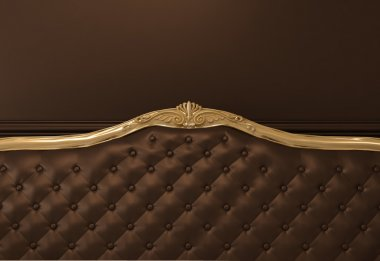 Leather Textured back of sofa with golden frame