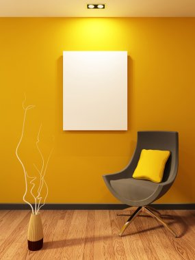 Modern armchair and blank on the wall in orange interior. Wooden