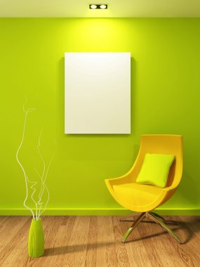 Empty illustration in modern interior. Gallary and armchair with