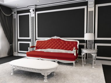 Red leather sofa, table, lamp, furry rug. Luxurious furniture in