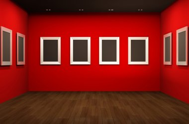 Front perspective of gallery room. Empty blank frames in Showroo