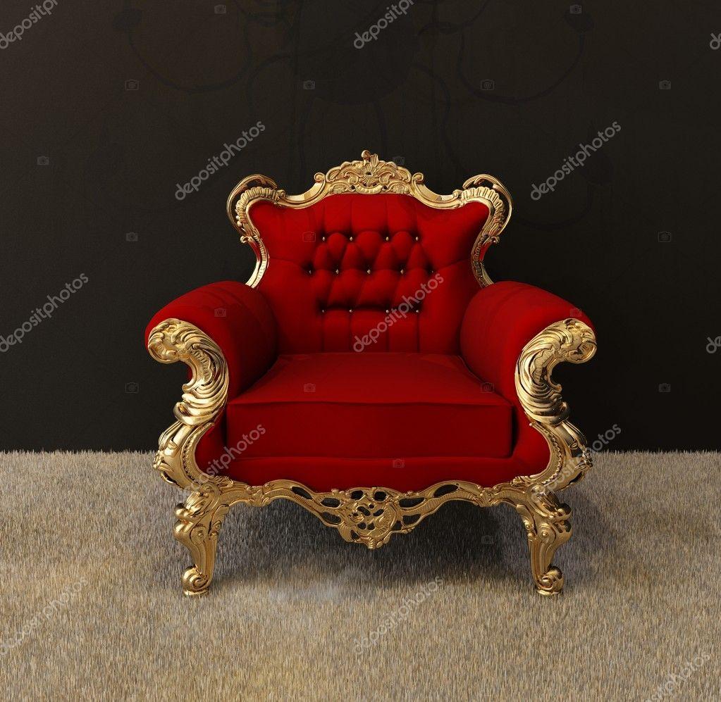 Luxus Sessel mit goldenen Rahmen und königlichen Kronleuchter im ...