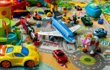 Toys on a carpet