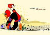 kreativní ručně malované ilustrace ve stylu avantgardy