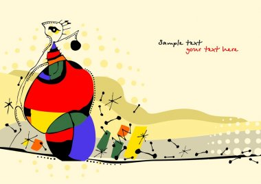 Creative hand painted illustration in style of avant-garde
