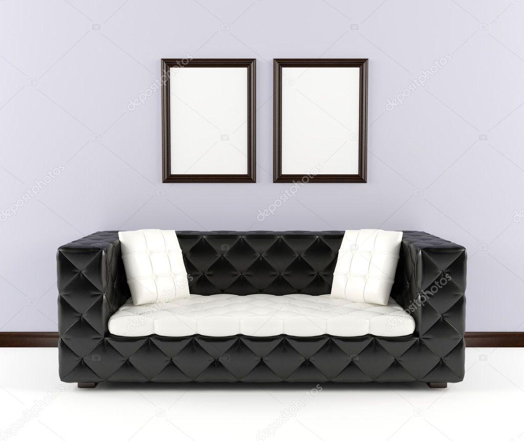 Black Leather Sofa Throw Pillows: Svart Skinnsoffa Med Kuddar I Inre