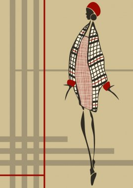 Fashionable young woman who is dressed in a plaid dress