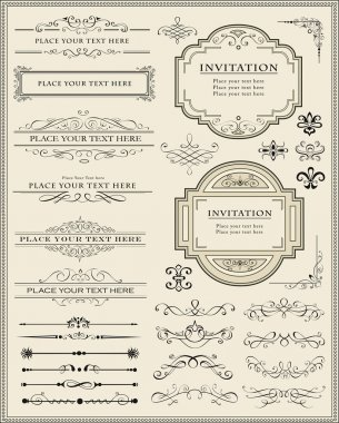 Vector illustration of calligraphic elements and page decoration clip art vector