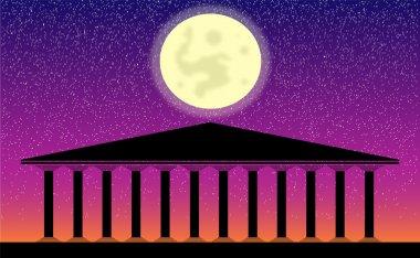 Greek temple at night