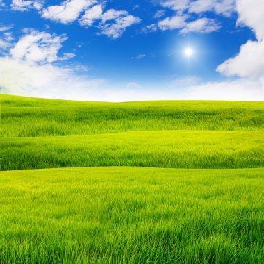 Nice sky over grass hill stock vector