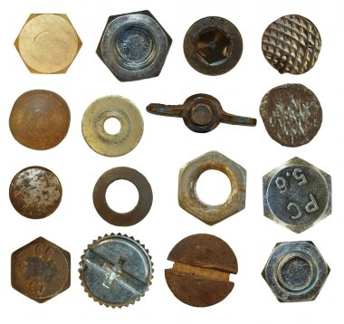 Collection Screw heads, bolts, steel nuts,old metal nail, isolated on white