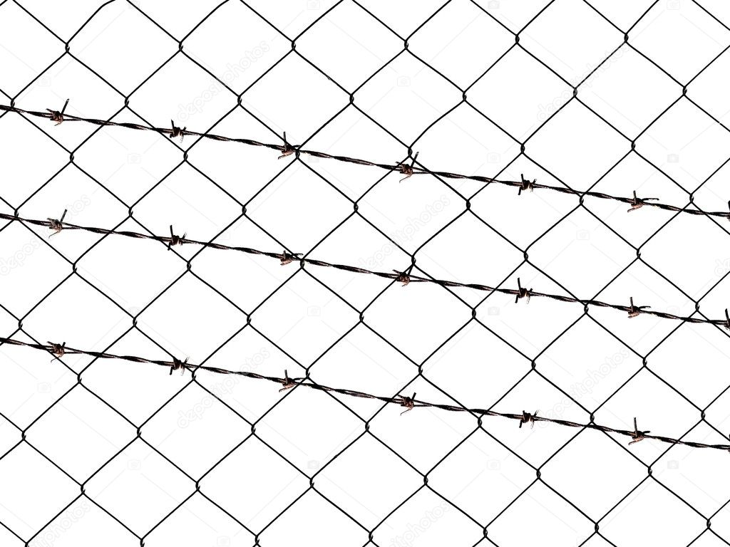 Metal barbed wire fence protection isolated on white for background ...