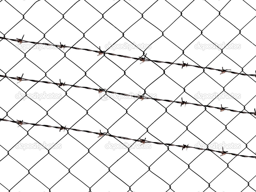 Fence png transparent images png all - Metal Barbed Wire Fence Protection Isolated On White For
