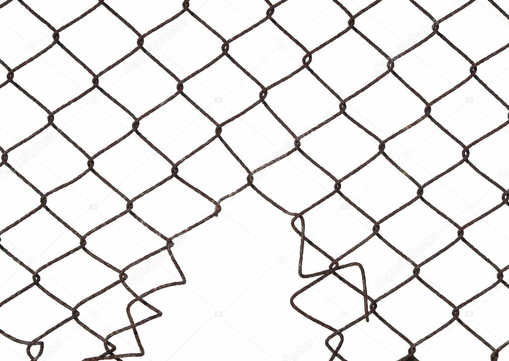 Metal wire fence protection with hole isolated on white for ...