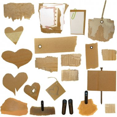 Set Cardboard Scraps, blank tag, paper notes, isolated on white background