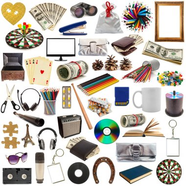 Collection of objects isolated on white background stock vector