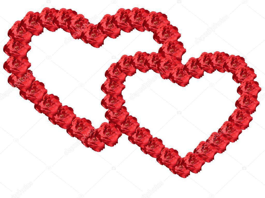 zwei Herzen von Blumen umrahmt — Stockfoto © gorielov #6317816