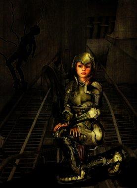 Futuristic female soldier
