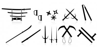 Set of martial arts weapons