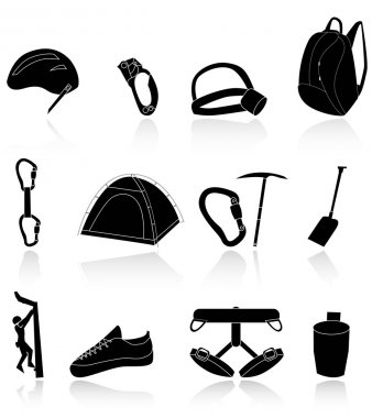 Climbing,camping and exploration icons