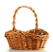 Fotografie Empty wicker basket isolated on white