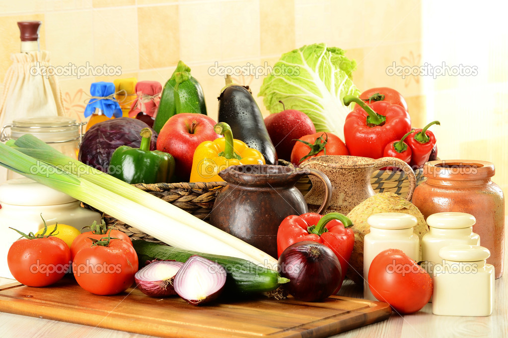 Raw vegetables on kitchen table