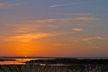 Sunrises on the beach of Camposoto - San Fernando - Cadiz stock vector