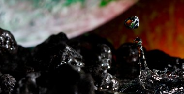 Abstract view from a rocky landscape and water drop