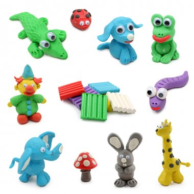 Animals made from child's play clay