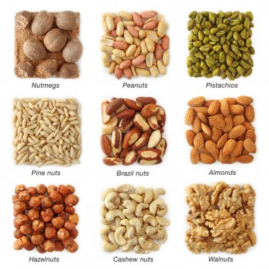 Nuts collection with titles