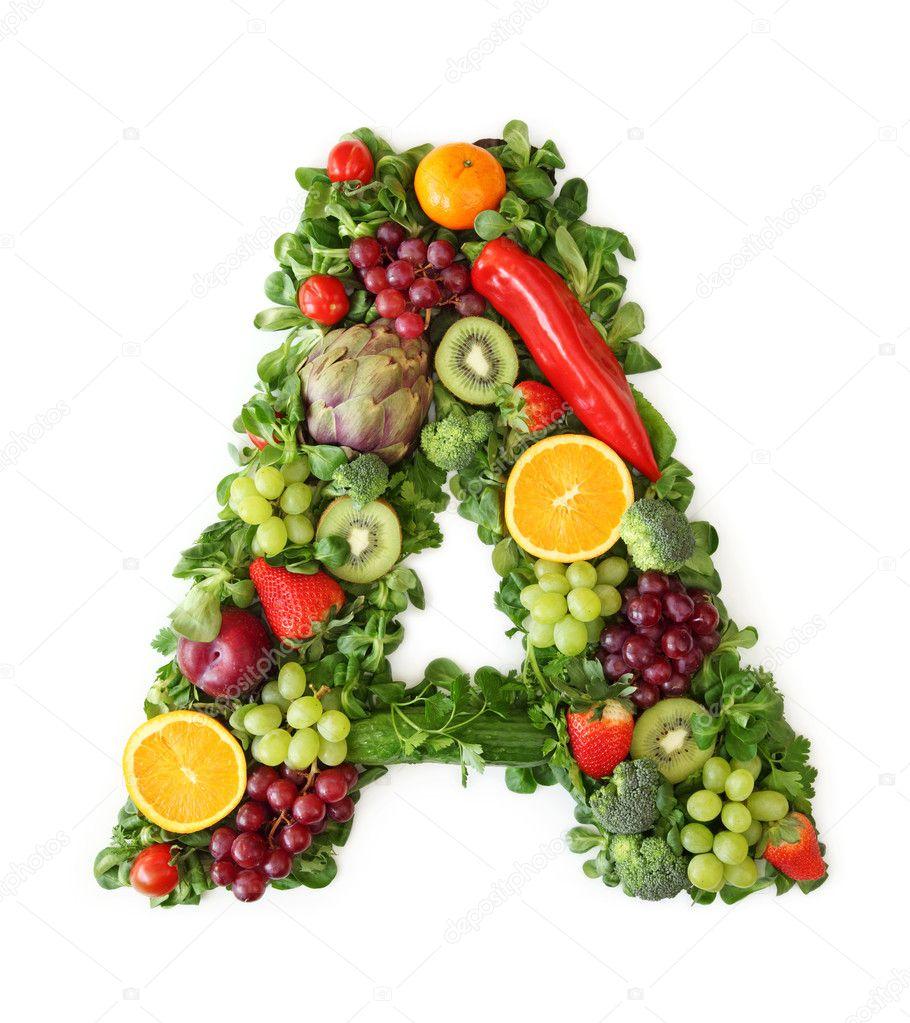 fruit and vegetable alphabet u2014 stock photo egal 5453454
