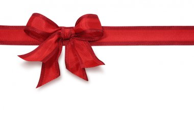 Red satin ribbon with bow