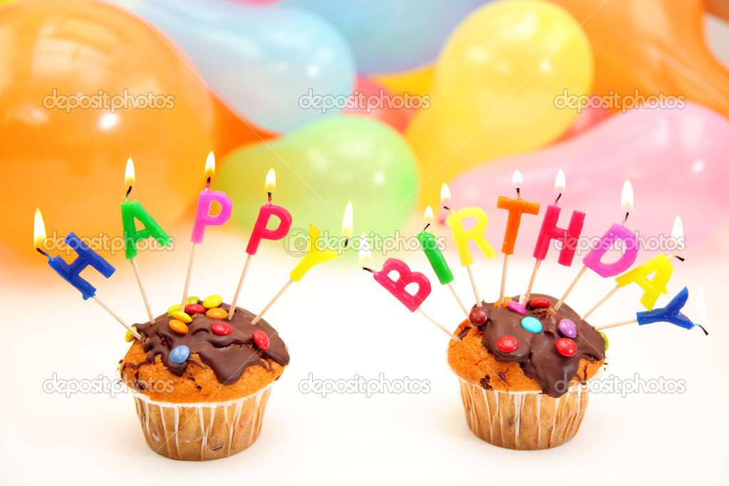 happy birthday letter candles stock photo