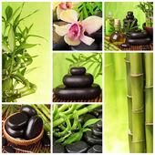 koláž horkými kameny a bambus